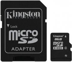 Kingston 8GB microSDHC Class 4 + adapterrel